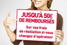 jusqu'à 50 euros de remboursés sur vos frais de résiliation si vous changer d'opérateur