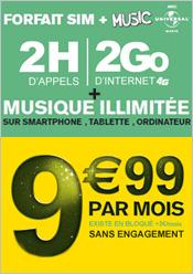 Forfait Music 2h bloqué 200Mo SMS & MMS illimités à 6,99€/mois sans engagement