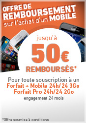Offre de remboursement jusqu' 50 euros rembourss sur les mobiles slectionns avec un forfait + mobile 2Go. Offre soumise  conditions
