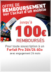 Offre de remboursement jusqu' 200 euros rembourss sur les mobiles slectionns avec un forfait + mobile 4Go. Offre soumise  conditions 