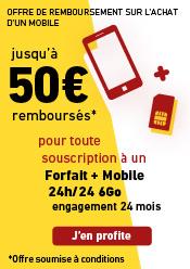 Offre de remboursement jusqu'à 50 euros remboursés sur les mobiles sélectionnés avec un forfait + mobile 5Go. Offre soumise à conditions