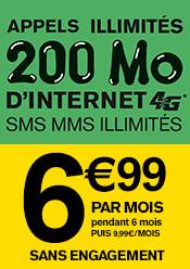 forfait sim 24h/24 à 6,99/mois SMS, MMS illimités sans engagement