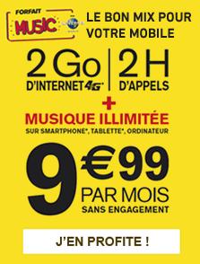 3h d'appels, internet 2go 4g, SMS, MMS et Music illimités