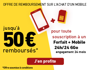 Profitez de l'offre de remboursement, jusqu' 50 euros rembourss sur les mobiles slectionns avec un forfait + mobile 24h/24 2Go avec engagement 24 mois hors Formule Eco.