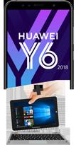 Huawei Y6 2018 noir 4G et PC Hybride