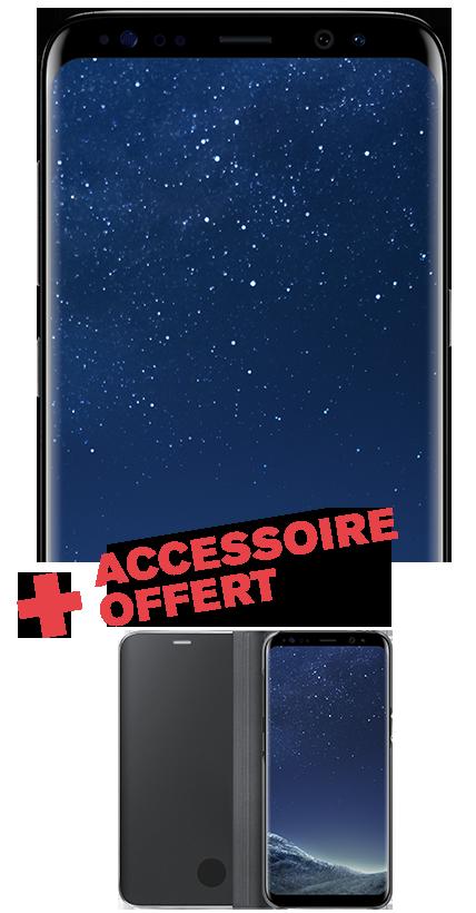 Samsung S8 noir 4G+ et Clear View Cover noir offert