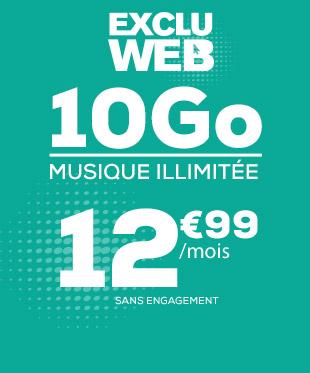 Exlu WEB ! Forfait mobile 10Go + Musique illimitée pour seulement 12,99€ sans engagement