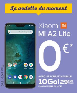 La vedette du moment - XIAOMI Mi A2 Lite 0€ avec les forfait 10Go à 29,99€/mois - engagement 24 mois