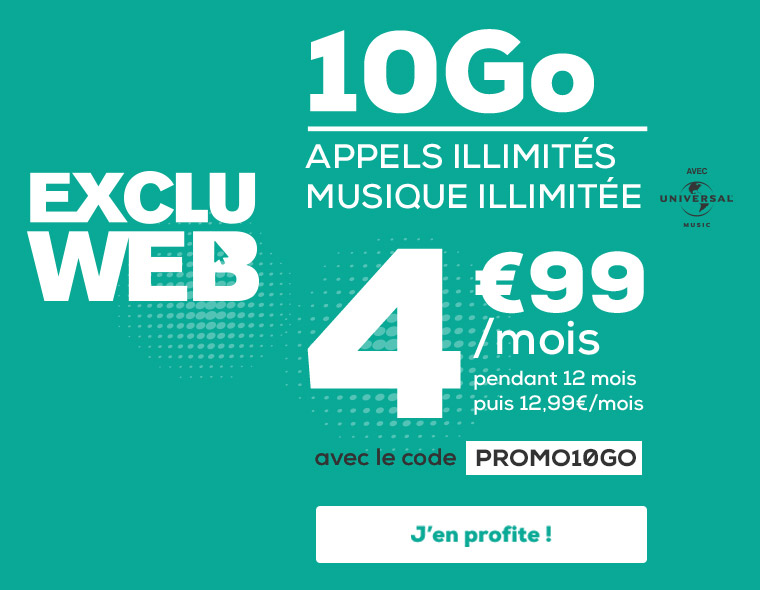 EXCLU WEB ! Forfait 10Go  SMS, MMS et musique en illimitée à seulement 4,99€, au lieu de 12.99€ par mois pendant 12 mois avec le code PROMO10GO