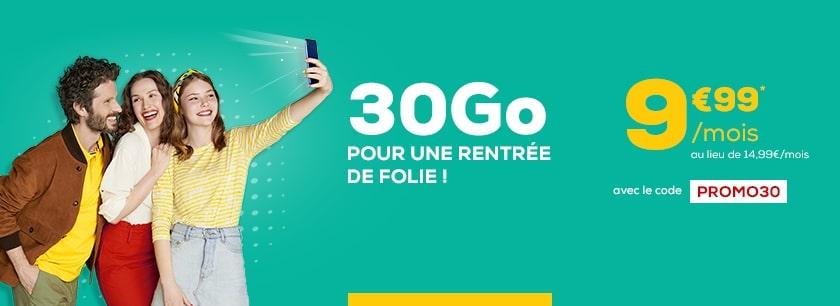 Promo forfait mobile 30G0 à 9,99€ avec le code PROMO PROMO30