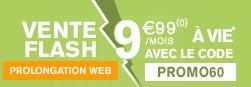 Vente Flash - Prolongation Web - Forfait SIM 60Go 9,99€/mois à vie au lieu de 18,99€/mois