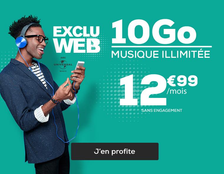 EXCLU WEB ! Forfait 10Go  SMS, MMS et musique en illimitée à 12,99€ par mois sans engagement avec l'avantage 2 mois offerts !