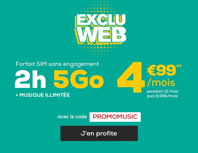 Forfait mobile 2h 5Go sans engagement à seulement 4,99€/mois pendant 12 mois