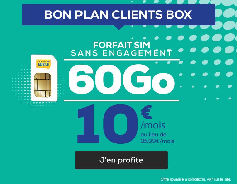 Bon Plan Clients Box La Poste Mobile : Forfait SIM sans engagement 60Go à seulement 10€/mois