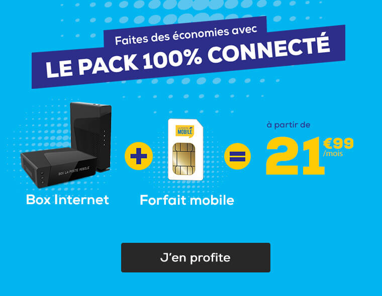 Faites des économies avec Le Pack 100% Connecté : La Box Internet + le Forfait Mobile 60Go à seulement 32,99€/mois pendant 12 mois