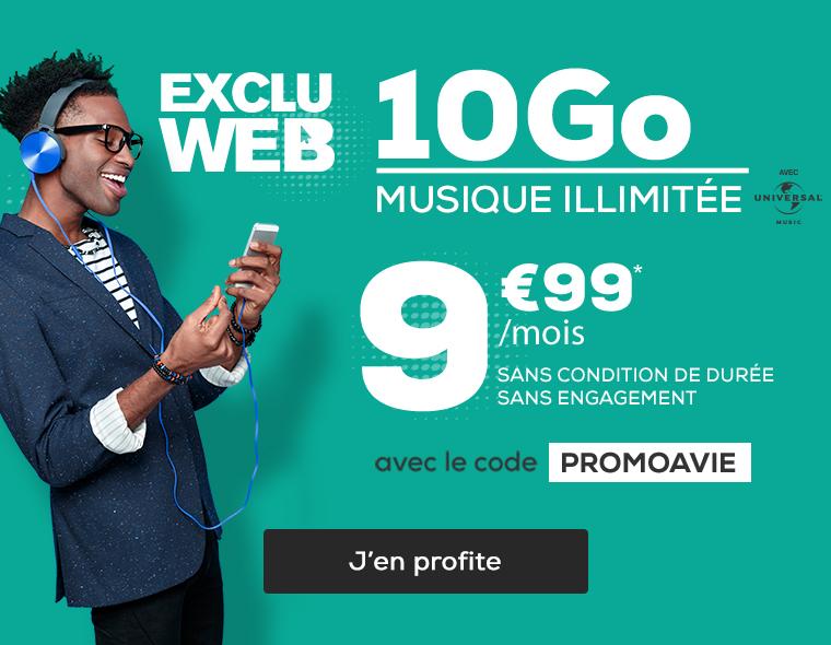 EXCLU WEB ! Forfait 10Go  SMS, MMS et musique en illimitée à seulement 9,99€, au lieu de 12.99€ par mois sans condition de durée et sans engagement avec le code PROMOAVIE