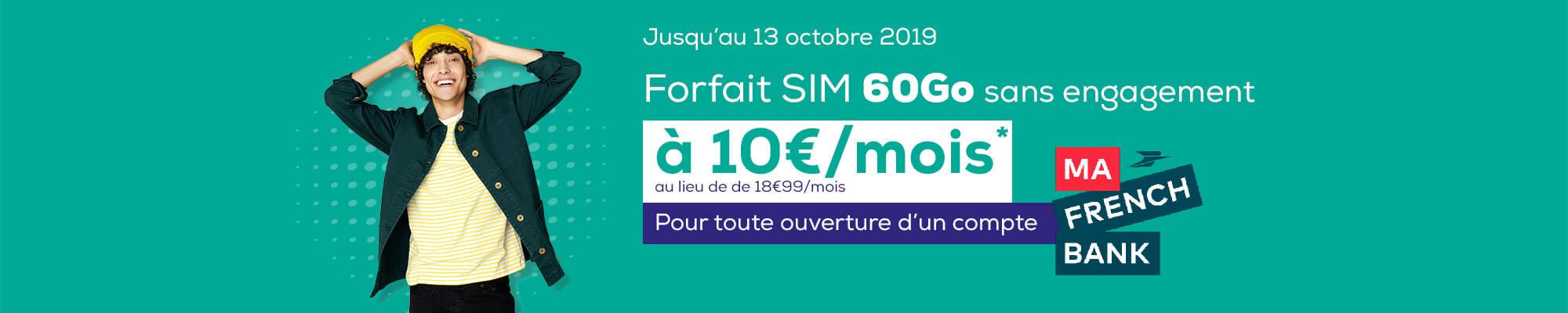 Profitez du forfait mobile 60Go en 4G/4G+ sans engagement à 10 euros par mois avec un compte Ma French Bank