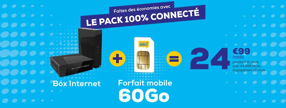 Le pack 100% connecté avec une offre box internet ADSL ou THD et un forfait mobile 60Go en 4G pour 24,99€/mois